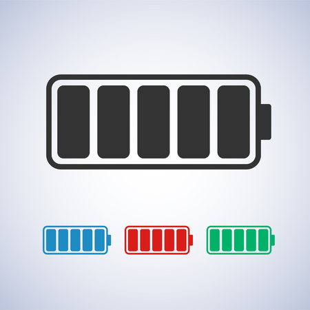 charged battery icon in blue green and red colors - stock vector illustration