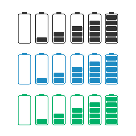 discharged to fully charged batteries, isolated vector icons - stock illustration Illustration