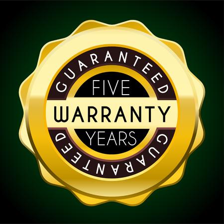 five years warranty golden badge. warranty label Illustration