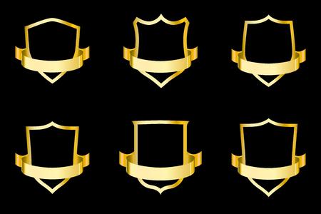 Set of golden shields with ribbon. Vector illustration for design.