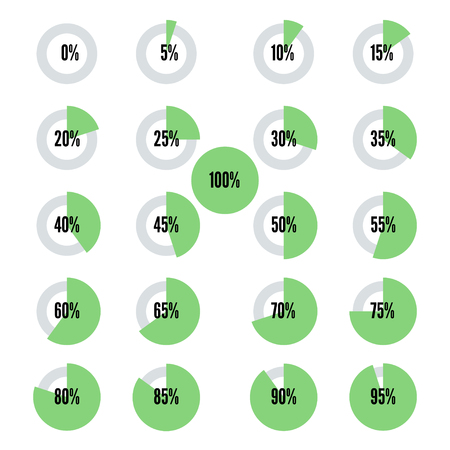 Green progress indicators set, vector icons for design Illustration