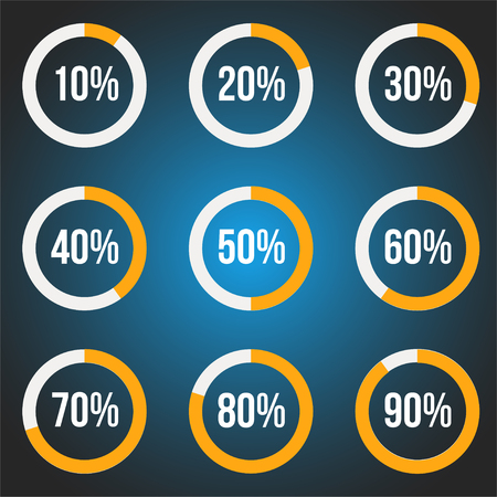 Orange progress indicators set, vector icons for design