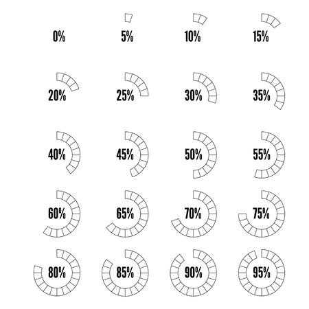 Countur black and white progress indicators set, vector illustration for design