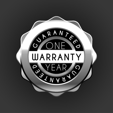 one year warranty golden badge isolated on white background. Metal label