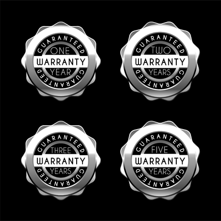 One year to five years warranty silver badges set. Guarantee metal labels