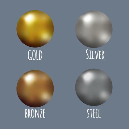 Set of realistic gold, silver, bronze and steel spheres, vector golden balls. Illustration