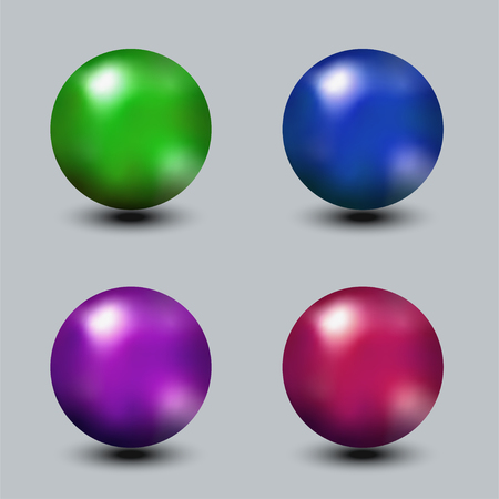 Set of realistic metal or glass bright color spheres, red, blue, green vector balls. Standard-Bild - 124736063