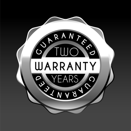 two years warranty silver badge isolated on white background. Guarantee label