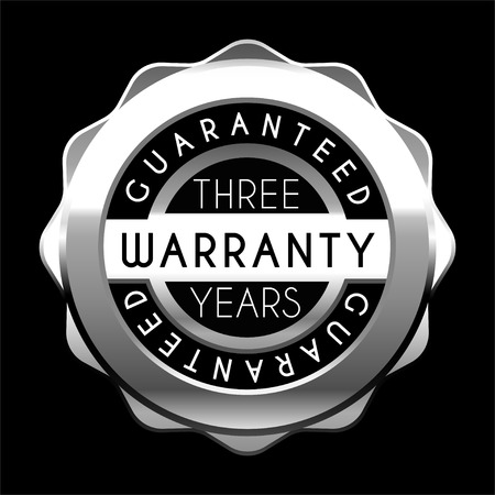 three years warranty silver badge isolated on white background. Metal label