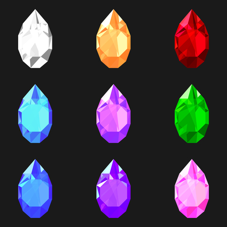 set of drop shaped gem stones of different mystical colors