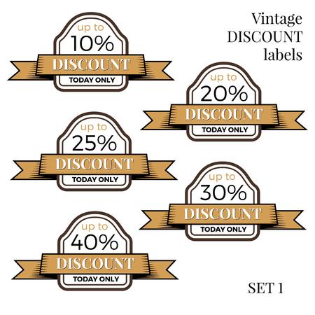 Collection of vintage retro grunge sale labels, badges and icons Vektorgrafik