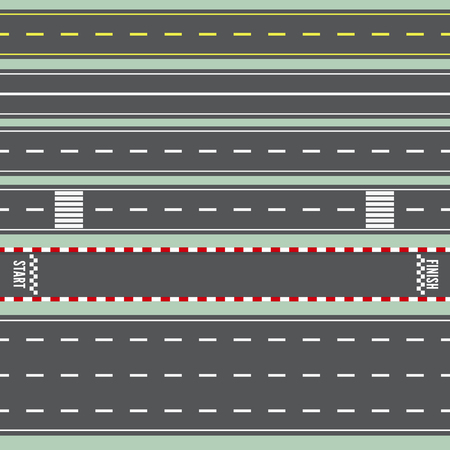 Set Roads. Top View. Straight Highway Infographic Templates