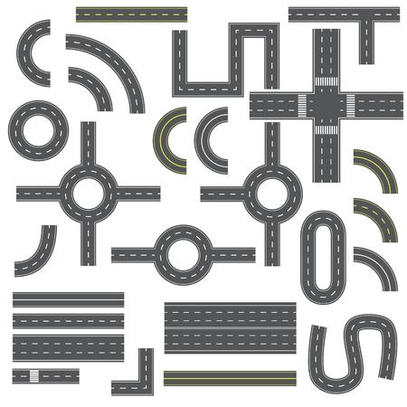 Different road elements vector illustration isolated on white background Ilustração Vetorial