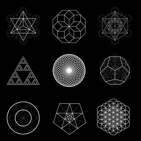 Sacred geometry vector design elements. Alchemy, religion, philosophy, spirituality, hipster symbols.