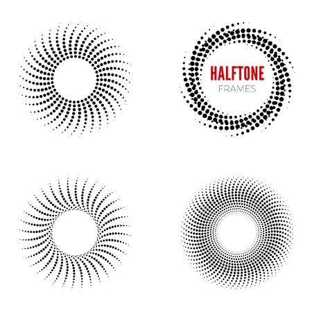 Set of round halftone frames. Abstract vector design elements Ilustração Vetorial