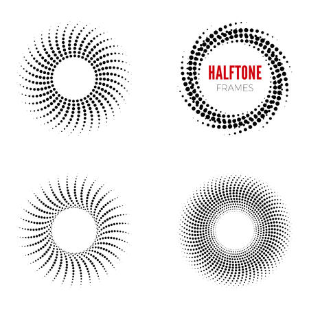Set of round halftone frames. Abstract vector design elements