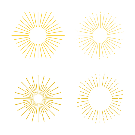 Set abstract sunbursts. The vintage explosion of a star. Retro frames by hand in geometric style.