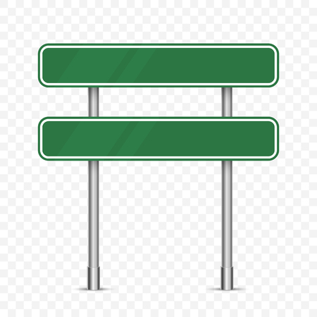Blank green traffic road sign on transparent Illusztráció