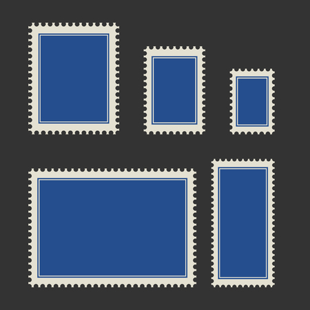 Blank postage stamp set. Toothed border stickers in different size. Vector flat style illustration