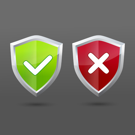 set of informatic shield icons. Check and cross for accept or decline choice