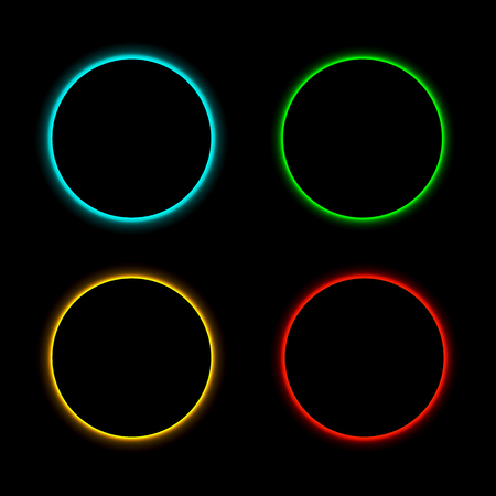 Colorful neon frames set. Blue, red, green and yellow. Vector illustration