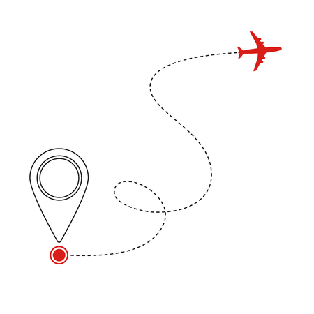 Black flying plane and mark of geolocation on white background. Splash screen for mobile application. Tourist service and transfer. Booking and sale of air tickets. On-line tracking. Vector.