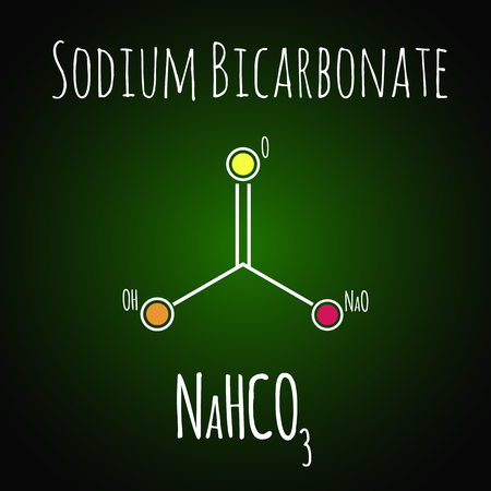 Sodium bicarbonate or baking soda , chemical structure. Skeletal formula  イラスト・ベクター素材
