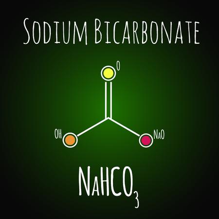 Sodium bicarbonate or baking soda , chemical structure. Skeletal formula 向量圖像