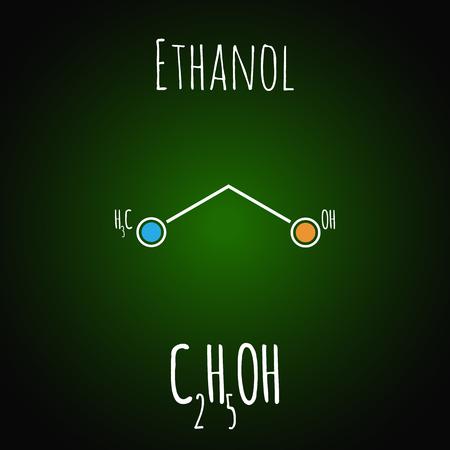 Skeletal formula of ethanol. Alcohol molecule. Chemestry vector illustration Illustration