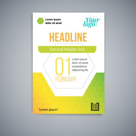 Business abstrakte Vektor-Vorlage. Flyerdesign, modernes Vektorlayout, Poster in A4 mit bunten Sechsecken, geometrischen Formen