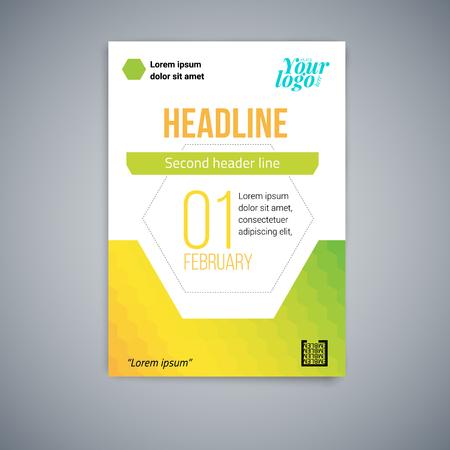 Modello di vettore astratto di affari. Design volantino, copertina layout vettoriale moderno, poster in A4 con esagoni colorati, forme geometriche