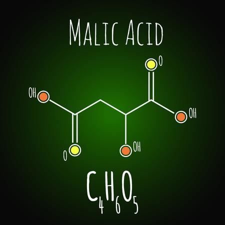Malic acid formula. Chemistry science vector illustration C4H6O5