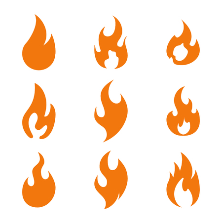 Fire flame logo icon set, vector illustration