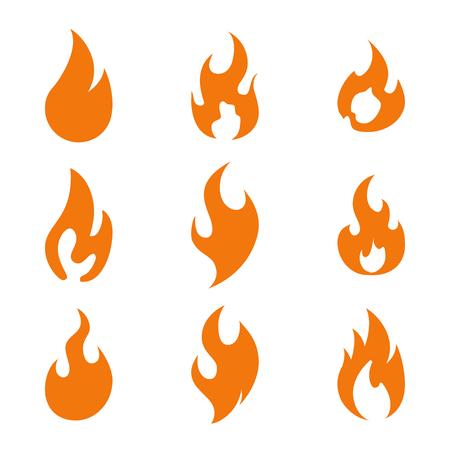 Insieme dell'icona del logo della fiamma del fuoco, illustrazione vettoriale