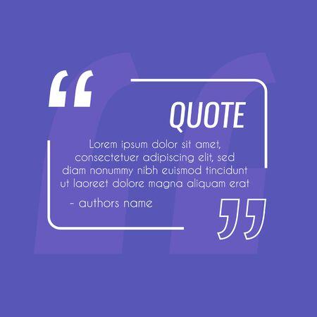 Remark quote text box poster template concept. Citation frame . Quotation paragraph symbol for design