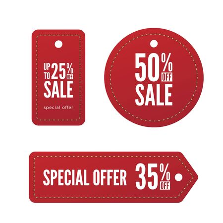 Red Paper Sale Tags. Set Of Vector Labels. Vector Design Elements. Stock Illustratie