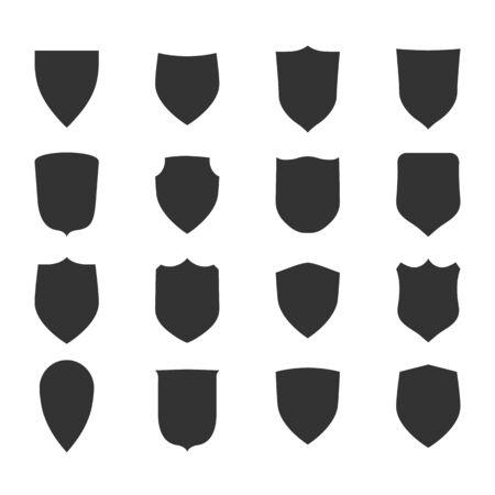 Zestaw ikon kształt tarczy. Czarne znaki etykiety. Symbol ochrony,