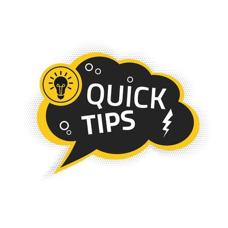 Vecteur de bannière de conseils rapides avec ampoule et bulle isolée Vecteurs