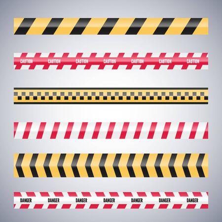 Juego de cintas de peligro de precaución. Vector de seguridad de advertencia. Barricada de líneas.