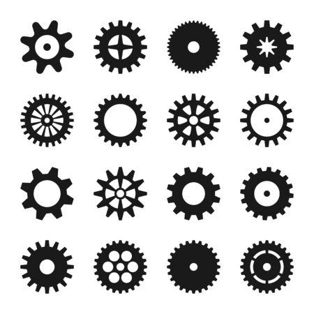 Collezione di icone della ruota dentata. Insieme di simboli di progettazione. Illustrazione di tecnologia