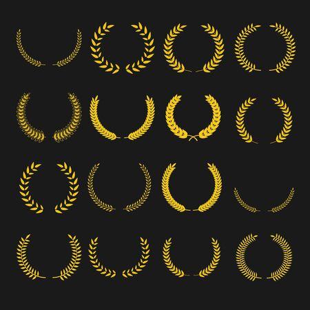 laurel wreath symbols set. Vintage elements collection foe design.  向量圖像