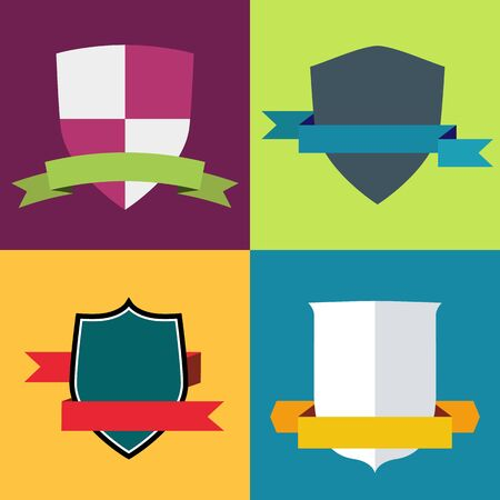 Set of four logo shields and ribbons, flat vector illustration