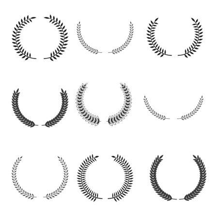 laurel wreath symbols set. Vintage elements collection foe design.  Vectores