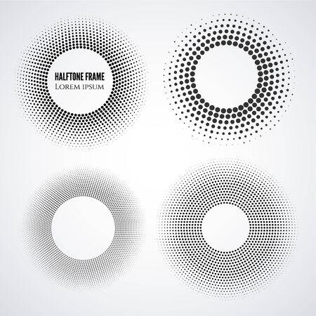 halftone round frames set. Geometric design vector elements Ilustração