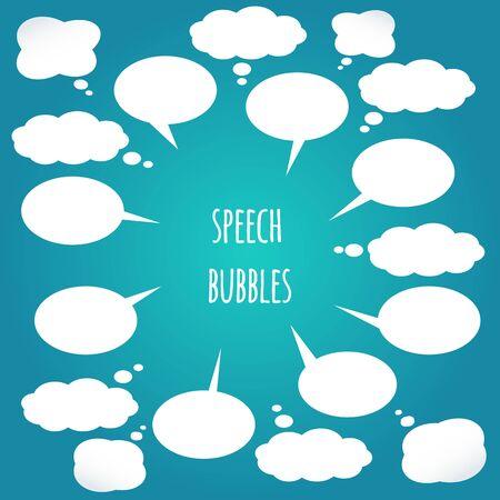 White speech bubbles set. Vector design elements Vektorové ilustrace
