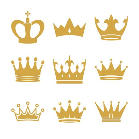 Golden crown symbols set. Luxury or leadership signs. Vector icons collection