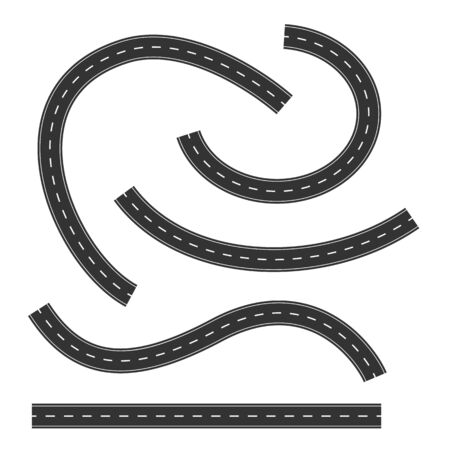 Set of Road Marking Isolated Background. Top View. Curved Highway Vektorové ilustrace