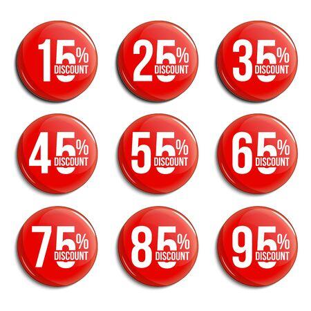 Conjunto de insignias de vidrio de porcentaje de descuento. Recopilación de promociones de venta. Marcas vectoriales comerciales para diseño