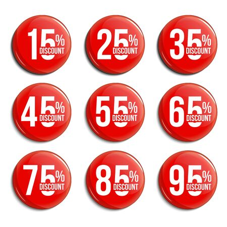 Discount percent glass badges set. Sale promotions collection. Shopping vector marks for design