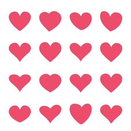 Conjunto de iconos de corazón rojo en un diseño plano